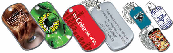 Examples of Dog Tags from LinJen Promotions